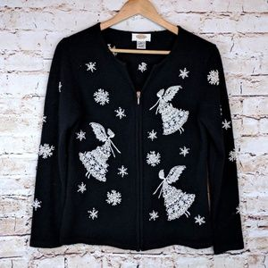 Talbots Wool Fairy Embroidered Winter Cardigan